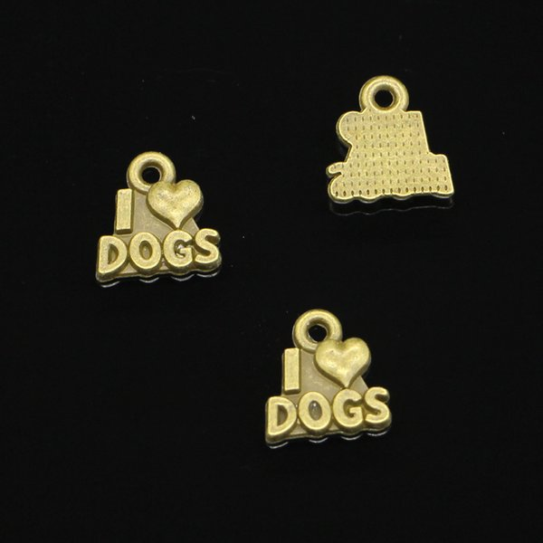 182pcs Charms I love dogs Antique Bronze Plated Pendants Fit Jewelry Making Findings Accessories 13*12mm