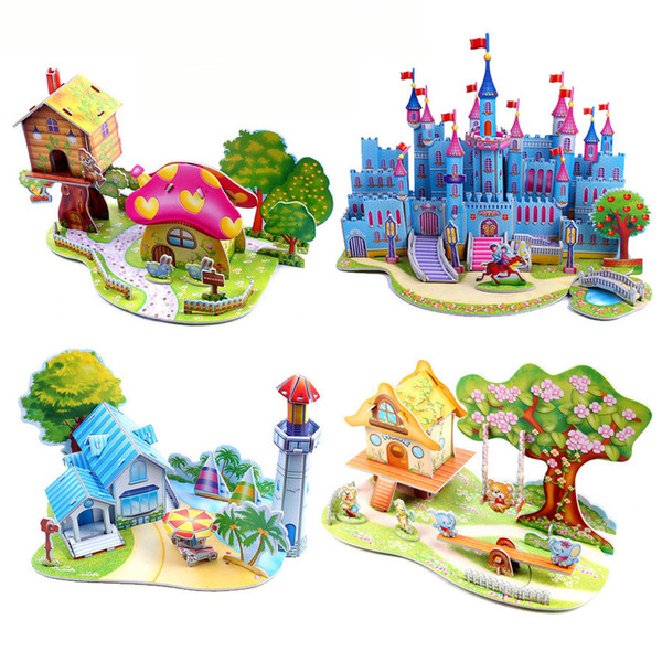 top popular 3D DIY Puzzle Jigsaw Baby toy Kid Early learning Castle Construction pattern gift For Children Brinquedo Educativo Houses Puzzle 2021