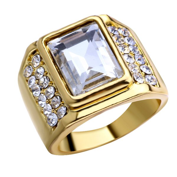 ROMAD Ices Out Hip Hop Rings Men Women Stainless Steel Big Stone Geometric Square Finger Ring Gold Color Men's Rings