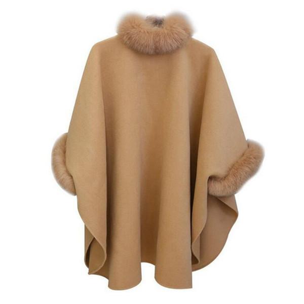 Womens Faux Fur Collar Wool Cape Cloak Batwing Coat Outwear Parkas Poncho S-XL