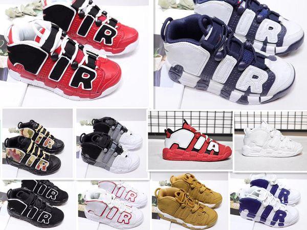 Оптовая 96 Обувь QS Gold Olympic Red Kids Basketball для 3M Скотти Пиппен быстротемповой Мальчики Девочки подарок Спортивной обуви кроссовок 28-35