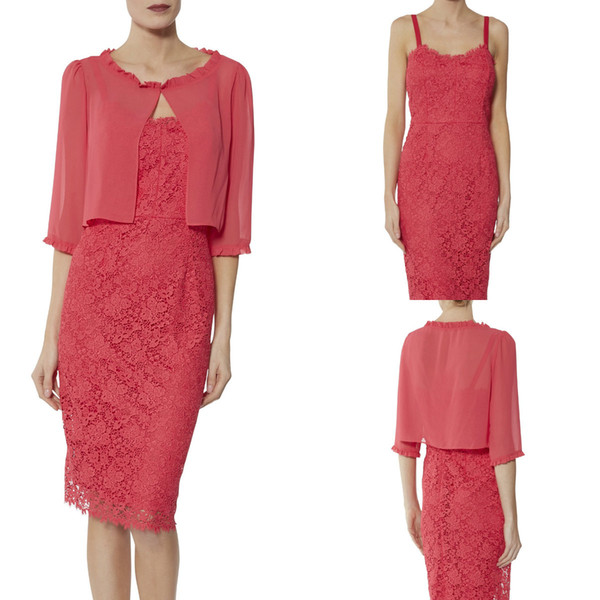 2019 Water Melon Knee Length Mother of Bride Dresses Spaghetti Short Jacket Plus Size Suits Appliques Elegant Wedding Guest Dresses