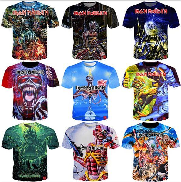 Летняя футболка Iron Maiden мужская с коротким рукавом Eddie Tee Фанаты болельщиков 3D Печатные футболки Мужчины Женщины Пары футболка S-5XL