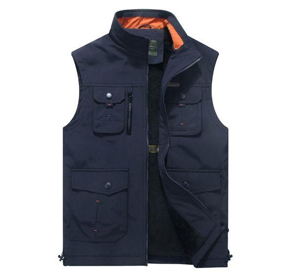 Clothing Men Vest Fashion Multi-pockets Vest Male Outerwear Stand Collar Mens Warm Fleece Waistcoat Polyester Vest