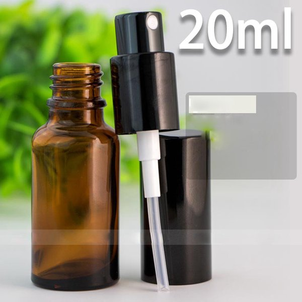 Botella de aerosol portátil 20 ml Botellas de vidrio de perfume vacías Botellas de perfume recargables gruesas con bomba Pulverizador Tapa Oro Plata Negro Colores