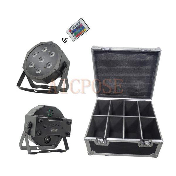8Pcs 7x12W Par Lights Small Lens with Remote control With 8 in 1 Flight Case RGBW 4in1 Flat Par Led DMX512 Disco Lights Professional Stage