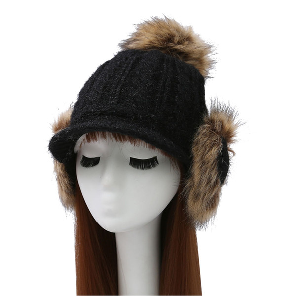 Winter Knitted Hats With Ear Flaps For Women Pompom Plus Fluffy Bomber Hats Thicken Warm Earflap Big Hair Ball Cap Gorros Fur