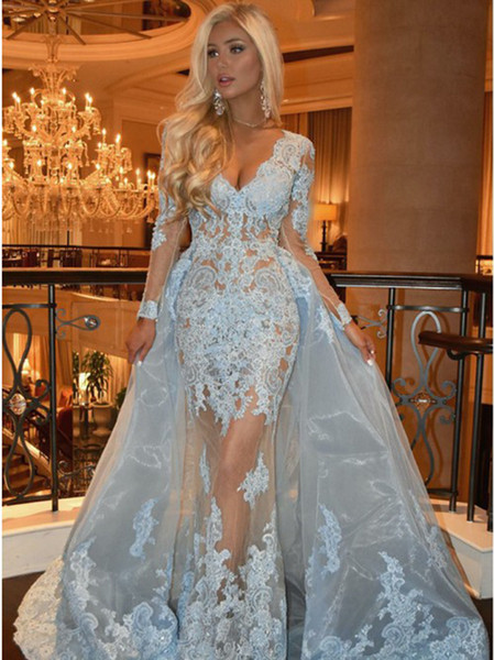 Light Blue Long Sleeve Evening Prom Dresses V Neck Lace Appliques See Through Organza Prom Gowns Custom Made DP0205