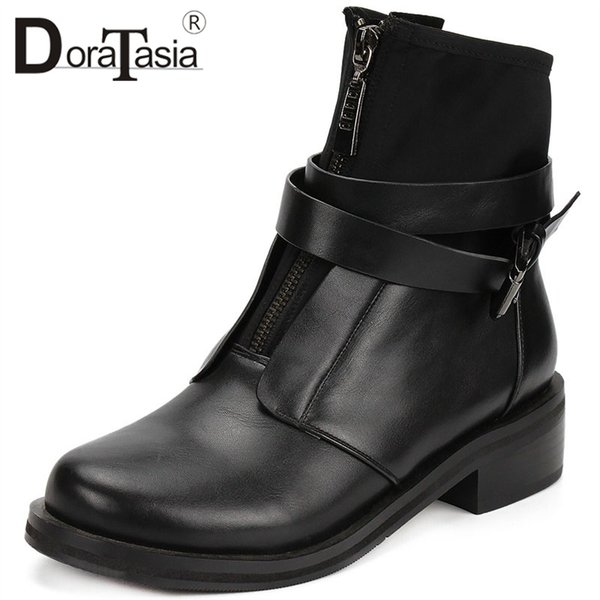 doratasia 2019 brand new design large size 35-42 chunky heels ankle boots woman shoes buckle decoration shoes woman boots female