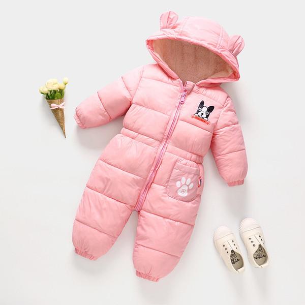 2018 bebé mameluco de invierno nuevos niños niñas pantalones bebé recién  nacido engrosamiento con capucha abajo ed13b7dd267d