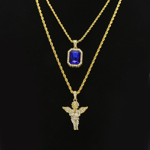Hip Hop Jewelry sets Mini Square Ruby Sapphire Full crystal Diamond Angel wings Jesus piece Pendant Gold chains For Men women Jewelry Gift