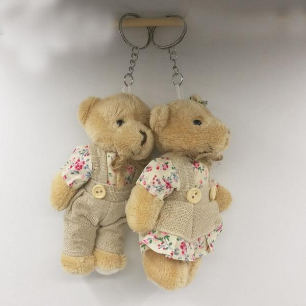 Stuffed Teddy Bear Rabbit Couples Plush Toy Stuffed Animal Soft Cloth Doll Bears Stuffed Plush Pendant Wedding Gifts Key Chain Accessories