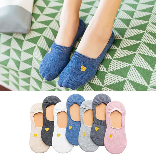 2019 newly invisible cotton socks embroidery gold heart women socks slipper unisex summer calcetines media muje