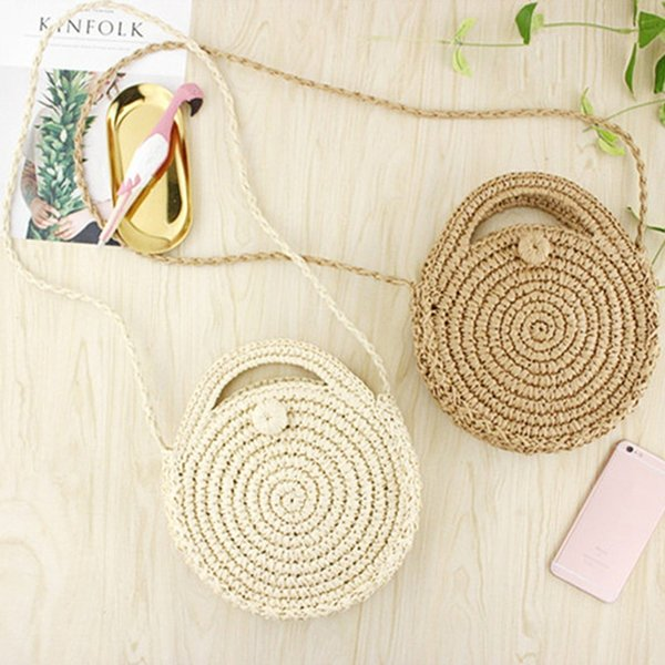 FGGS Round Paper rope Beach Bag Summer mini Vintage Handmade Crossbody straw Bag Girls Circle Rattan bag Small Bohemian Shoulder #34501