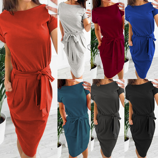 top popular Fashion mini dress with belt solid pure color round collar women casual dresses short sleeve girls summer skirts 10 colors offer choose 2020