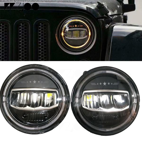 2 Pcs 7 POUCES Ronde LED Phares H4 Phare avec Ambre Halo Angel Eyes avec Logo Étoile Pour Jeep Wrangler TJ JK Hummer Land Rover Lada Niva