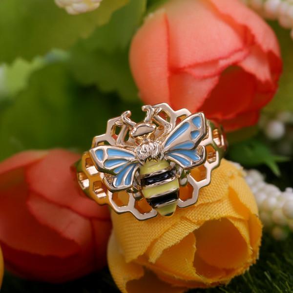 Heiße kreative hohle Bienenwaben-Emaille-Bienen-Ringe für Frauen-empfindliche geometrische Insekt-Ringe Schmucksache-Großhandelsanillos Mujer-Geschenke