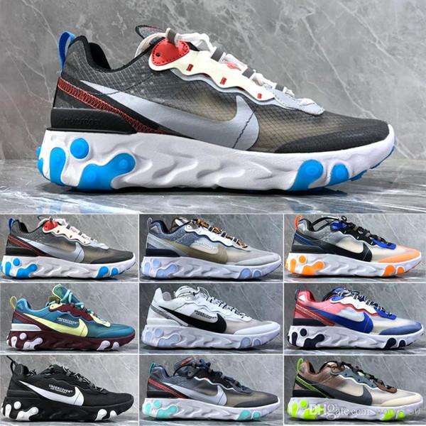 nike Epic React Element 87 Element 55 React chaussures de course pour les hommes des femmes de qualité supérieure métallique triple Tint royal noir d'or des hommes de coureurs