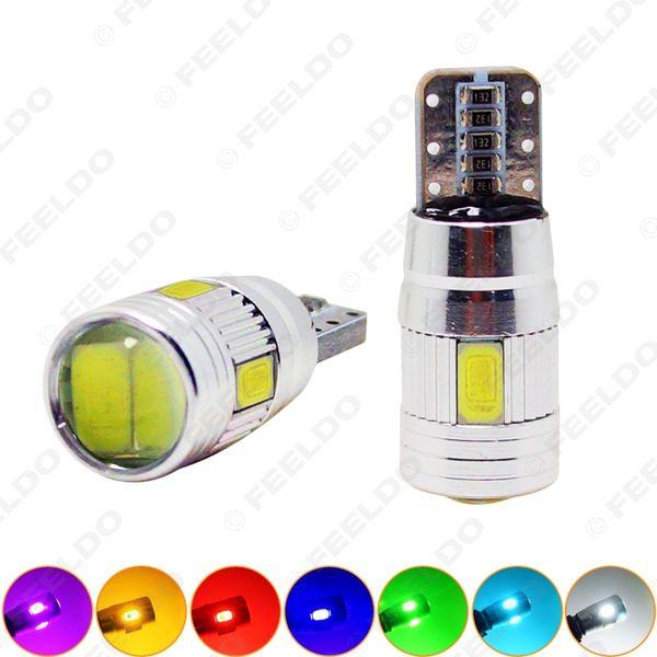 50 pcs Poder T10 / W5W / 194/168 6SMD 5630 LED Canbus Erro Free Car LED Lâmpada com lente # 1255