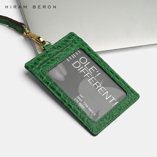 Hiram Beron Custom Name Service Name Tag Card Holder Lanyard Id Holder Retractable Embossed Crocodile Pattern Cow Leather Y19052202