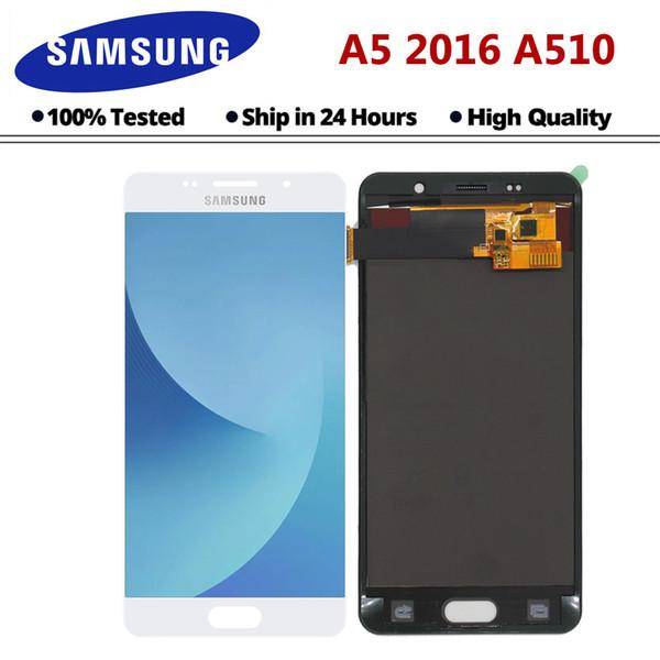 Для Samsung Galaxy A5 2016 ЖК-дисплей A510 SM-A510F A510M A510FD высокое качество ЖК-дисплей с сенсорным экраном дигитайзер в сборе Ypf27-36