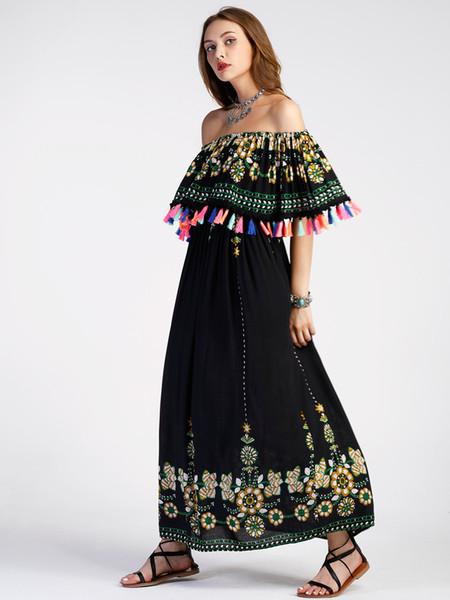 2019 Nuevos vestidos de verano para mujer, moda, borla bohemia, ropa de mujer de un solo hombro, vestido para niña, ropa de playa, faldas largas, talla S-XXL