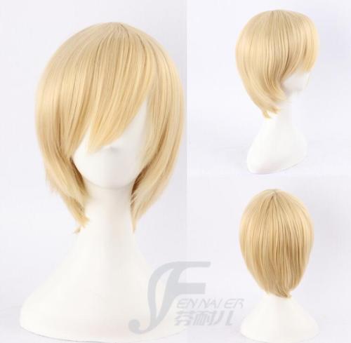 Fashion anime mixed blonde cosplay wig daily short straight inclined bang man