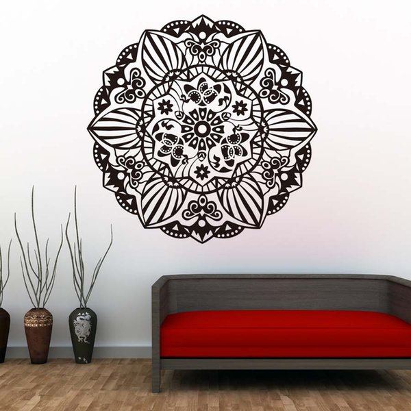 Flowers Mandala Wall Stickers Pattern Design Removable Vinyl Wall Decals Indian Style Mural For Living Room Home Decor Removable Vinyl Wall Decals