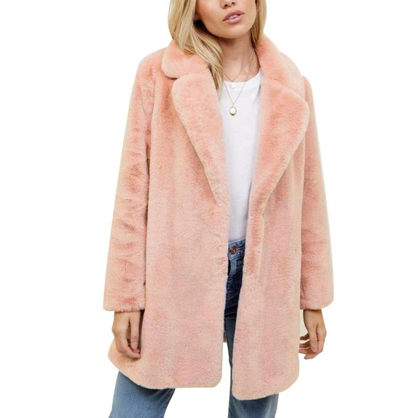 2018 Fashion Faux Fur Pink Long Sleeve Coat Boyfriend Style Thick Warm Long Coat Natural Color For Woman Size S M L Xl 2xl 3xl