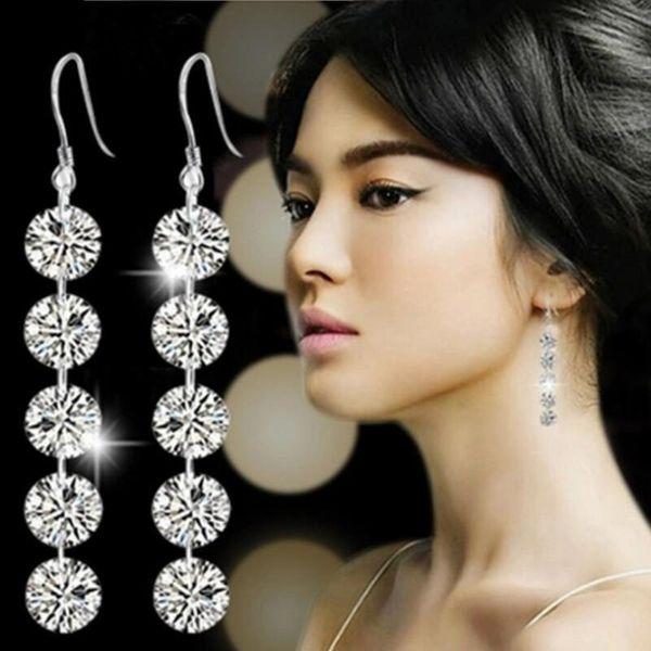 Argent Boucles d'oreilles goutte vente chaude CZ diamant Hoop Huggie boucles d'oreilles pour les femmes fille de noce bijoux gros livraison gratuite - 0049WH