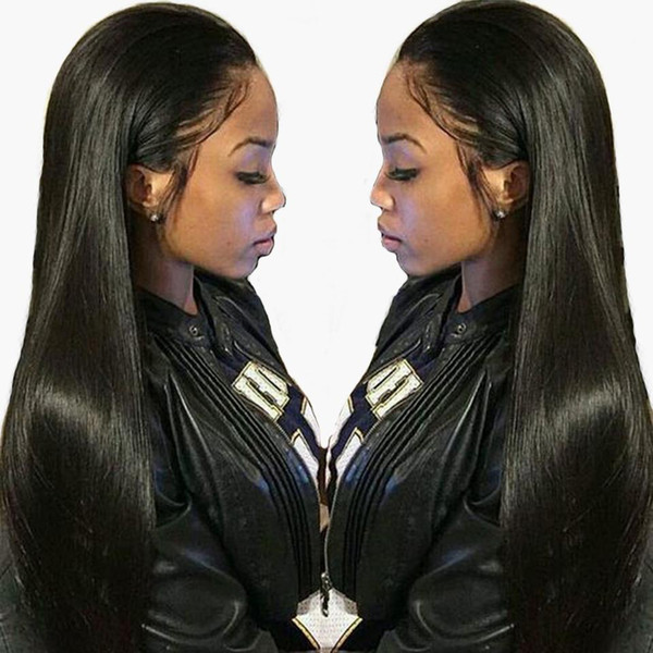 24inces 150% density straight lace front human hair wig 13x6 deep part preplucked brazilian remy wigs for black women