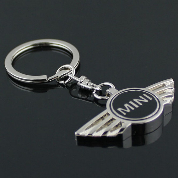 wholesale 10 pcs/lot mini cooper 3D Metal Car Logo Keychain Key Chain Auto Pendant Car Accessories keyring for all car logos free shipping