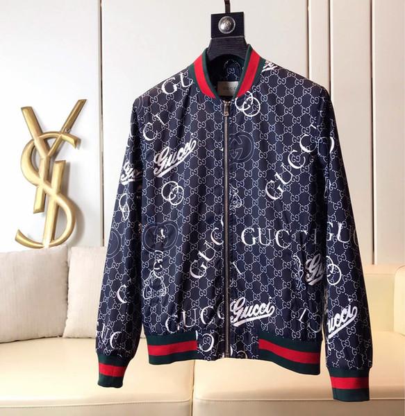 Fashion Jacket Casual Windbreaker Long Sleeve Cotton Blend Size M-3XL One Coler Mens Jackets Zipper Pocket Animal Flower Letter Pattern-62