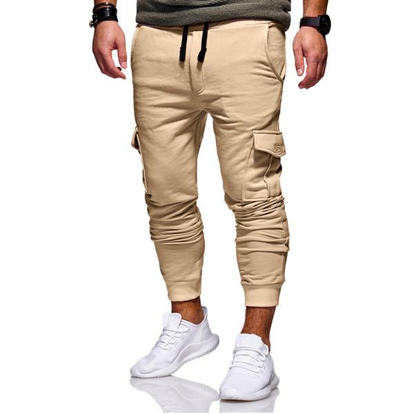 Big lazy cat Men Solid Color Pocket Design Solid Jogger Pants Man Hip Hop Hipster Streetwear Long Pants Autumn New Trousers Pants