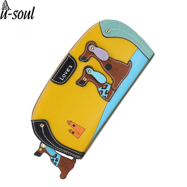 женские клатчи Кошелек Женщины Кожа PU мультфильм собака бумажники Lady сцепления 6 цветов Puppy Zipper держателя карты Женский Изменение Кошельки A5310