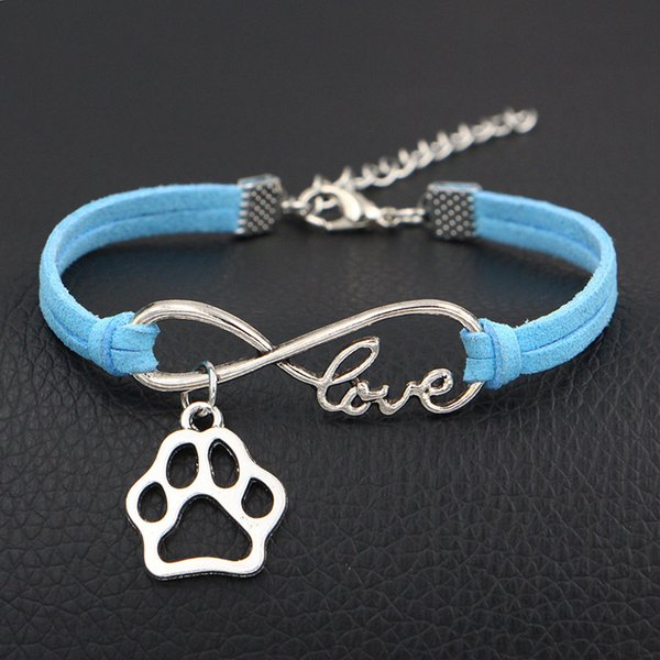 Trendy Bohemian Blue Leather Suede Rope Bracelets Vintage Silver Infinity Love Pets Cat Dog Paw Pendant Jewelry For Women Men Gift Wholesale