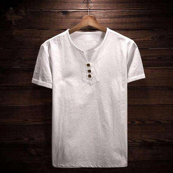 summer men's shirt linen cotton man clothing solid flax men's shirt 4xl slim collarless short shirts 5xl asian size m-6xl 7xl