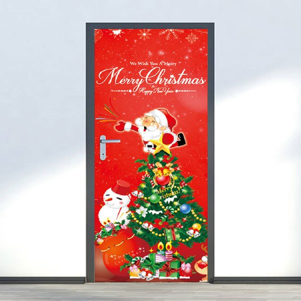 2Pcs/Set Merry Christmas Door Stickers Print Snowman Art Removable Stickers Decorations For Home Kerst Decorate Wall Sticker