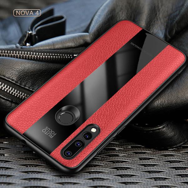 para Huawei nova 4 Case Mewah Bisnis Retro Silkon Tepi Plexiglass para Huawei nova 4 Penutup Telepon capa