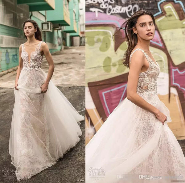 2018 Liz Martinez Lace Wedding Dresses Sexy Deep V neck Long Backless Summer Boho Bohemain Beach Bridal Party Gowns