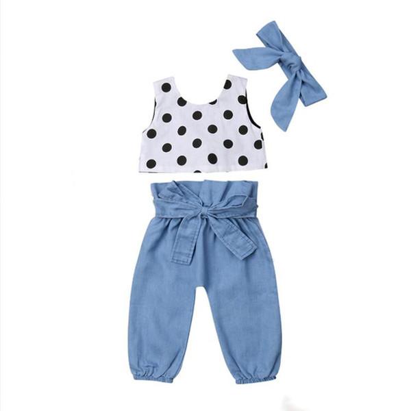 Summer girl kids clothes Set sleeveless dots top+Jeans pants +bows Headband 3 pcs sets Kids Designer Clothes Girls