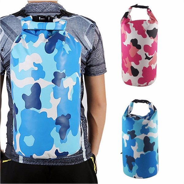5533c441fb Outdoor Bag Camouflage Portable Rafting Diving Dry Bag PVC Waterproof  Swimming Storage for River Trekking 2L