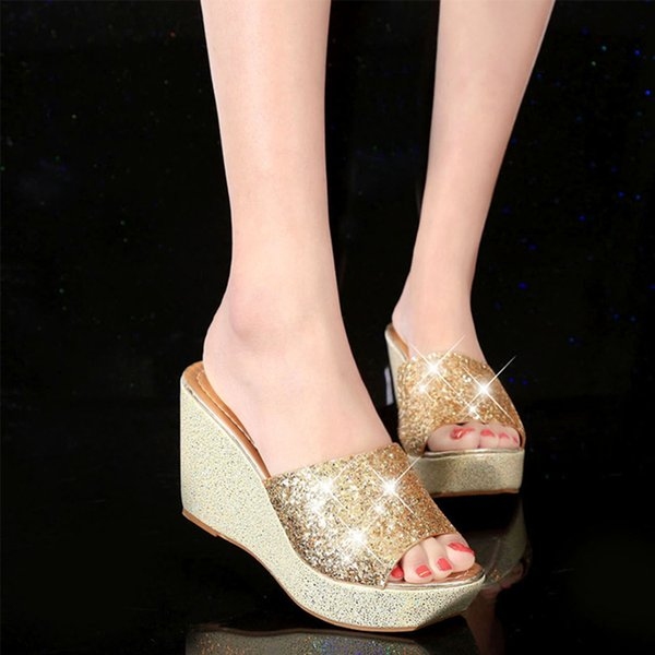 Women Summer Casual High Heel Wedge Slippers Silver Gold Black Bling Flip Flops Shoes Ladies Slippers