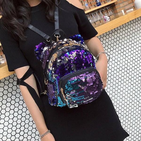 Women Small Sequins Backpack Girls School Mini Bag Travel Rucksack Shoulder Bags