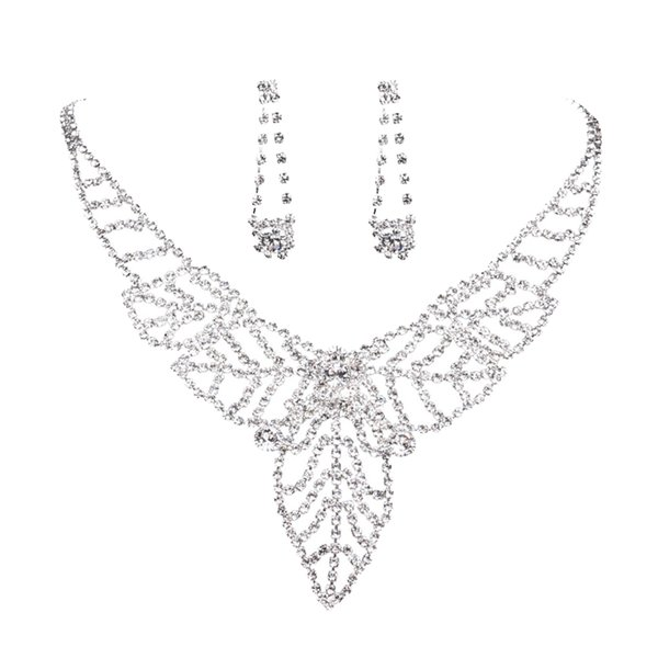 Hollow Leaf Rhinestone Pendant Earrings Necklace party engagement Wedding Bridal Jewelry Set New Chic