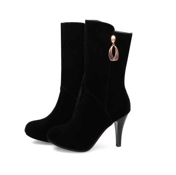top popular Plus size 32 33 34 to 40 41 42 43 black high heel mid calf booties keep warm black synthetic suede winter boots designer 2021