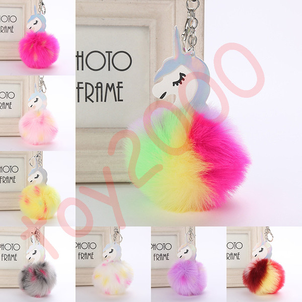 Fluffy Metal Alloy Unicorn Pom Keychain Pendant Cute Pompom Artificial Rabbit Fur ball Key Chain Bag Car Key Ring Hang Bag 9cm toys