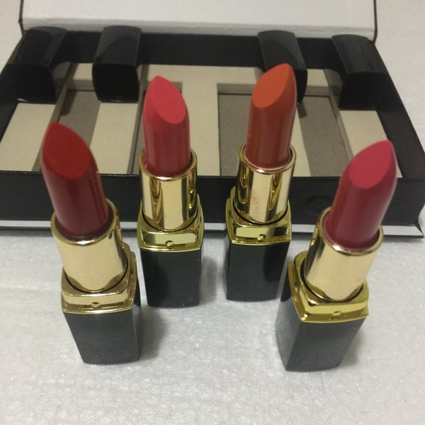 top popular Popular brand Lip Makeup Matte lipstick 4 color black tube matte lipstick 4pcs set free shipping 2021