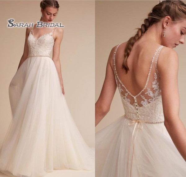 best selling 2019 Vintage Simple A-Line White Lace Wedding Dress Beach Sexy Sleeveless Backless Evening Wear Formal Gown High-end Wedding Boutique