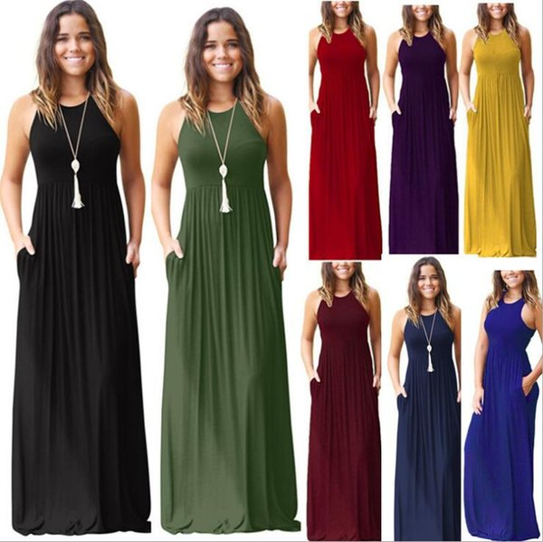 Mangas vestido maxi 8 cores Mulheres sólida gola redonda Cor bolso Verão Vestido de Verão Praia vestidos de O-OA6704